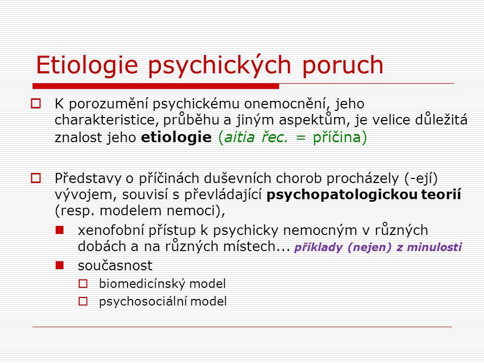Etiologie psychických poruch