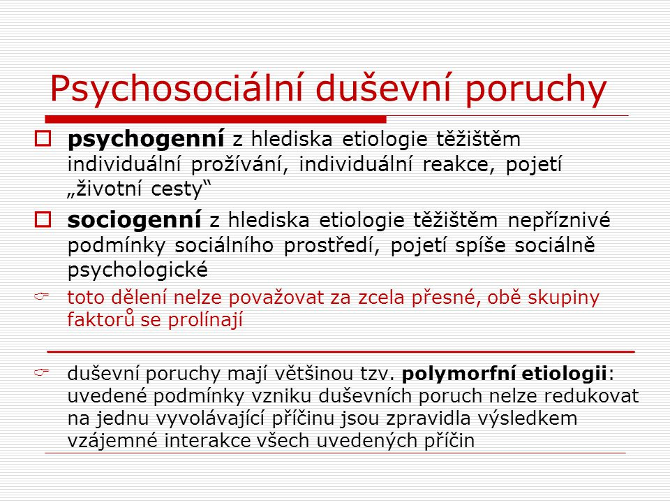 Psychosociální duševní poruchy
