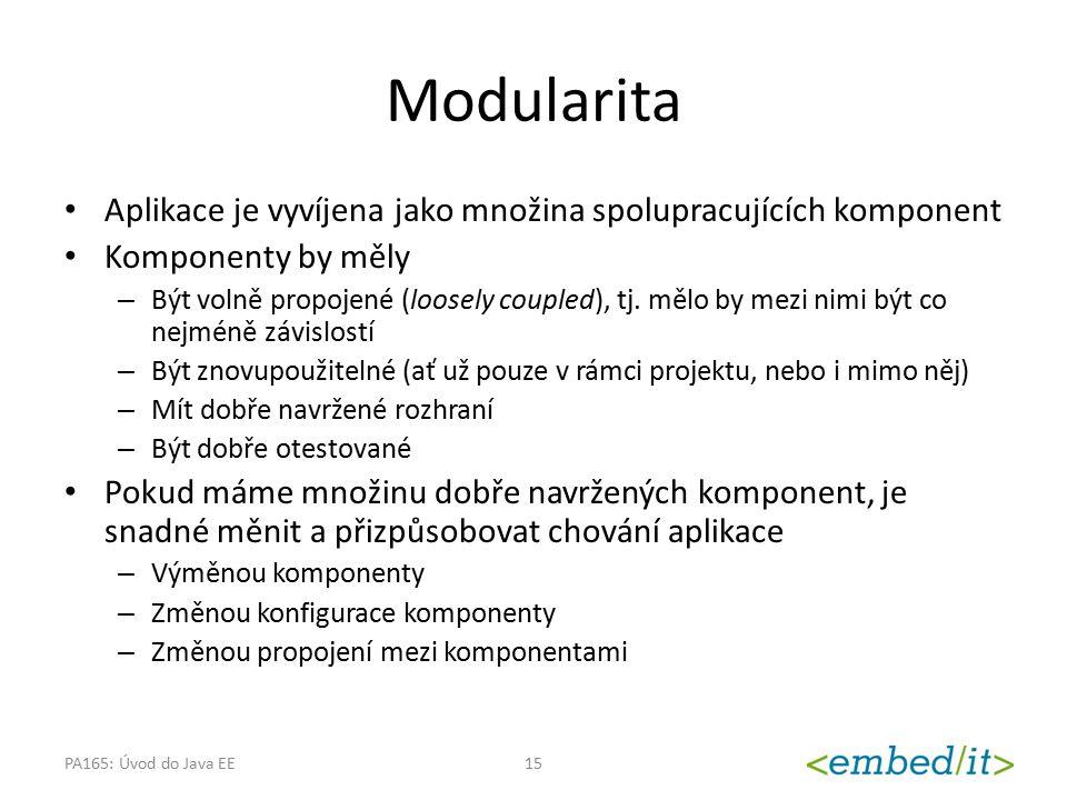 Modularita Aplikace je vyvíjena jako množina spolupracujících komponent. Komponenty by měly.