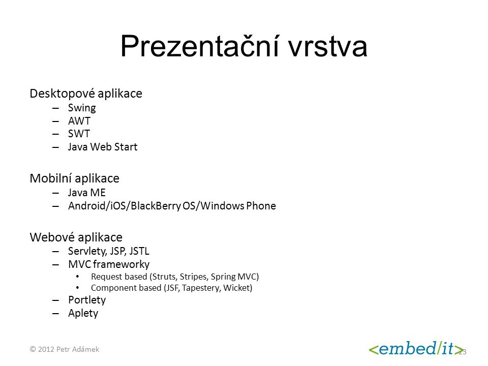 Prezentační vrstva Desktopové aplikace Mobilní aplikace