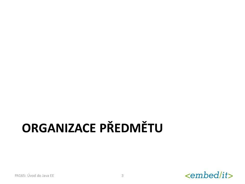 Organizace předmětu PA165: Úvod do Java EE