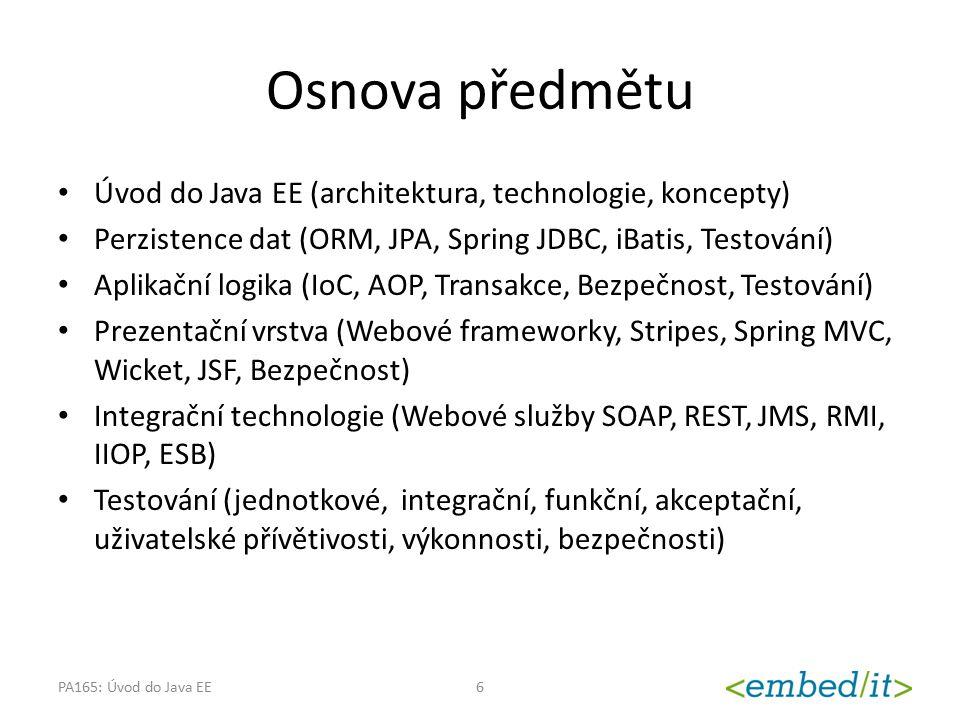 Osnova předmětu Úvod do Java EE (architektura, technologie, koncepty)