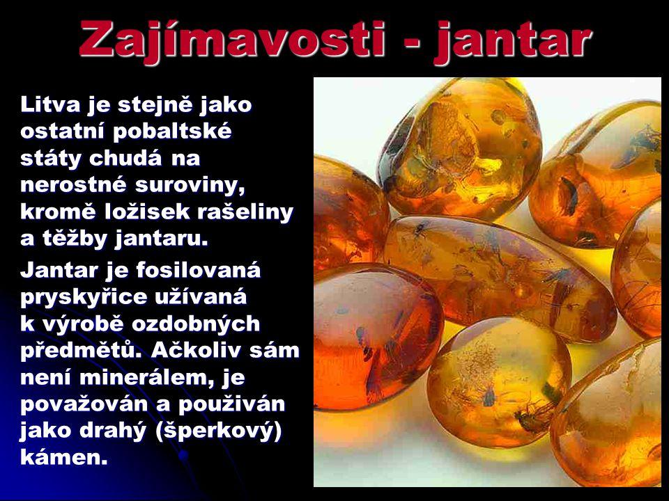 Zajímavosti - jantar Litva je stejně jako ostatní pobaltské státy chudá na nerostné suroviny, kromě ložisek rašeliny a těžby jantaru.