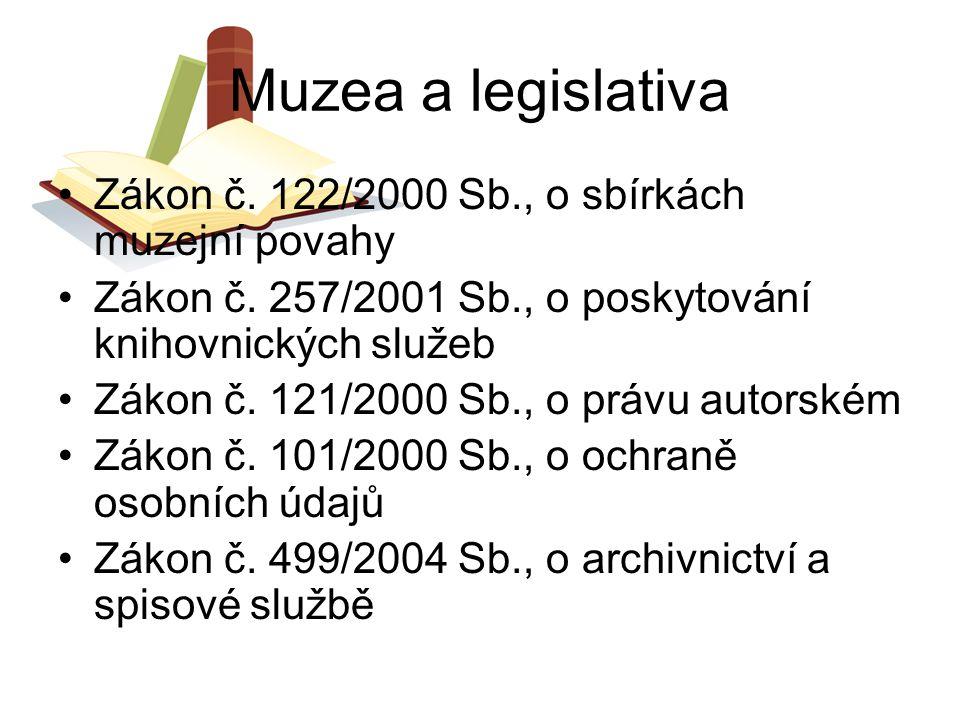 Muzea a legislativa Zákon č. 122/2000 Sb., o sbírkách muzejní povahy