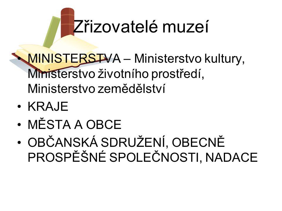 Zřizovatelé muzeí MINISTERSTVA – Ministerstvo kultury, Ministerstvo životního prostředí, Ministerstvo zemědělství.