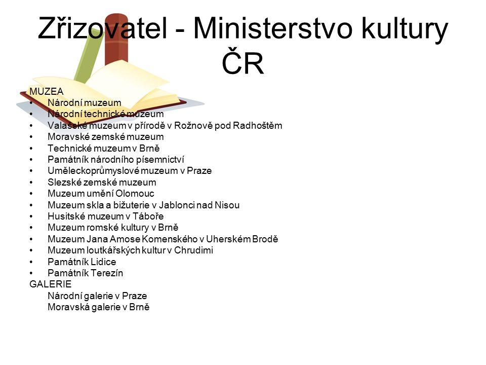 Zřizovatel - Ministerstvo kultury ČR