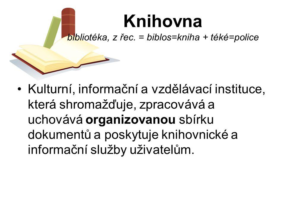 Knihovna bibliotéka, z řec. = biblos=kniha + téké=police