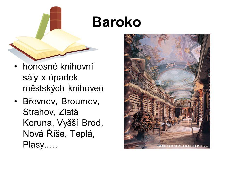 Baroko honosné knihovní sály x úpadek městských knihoven