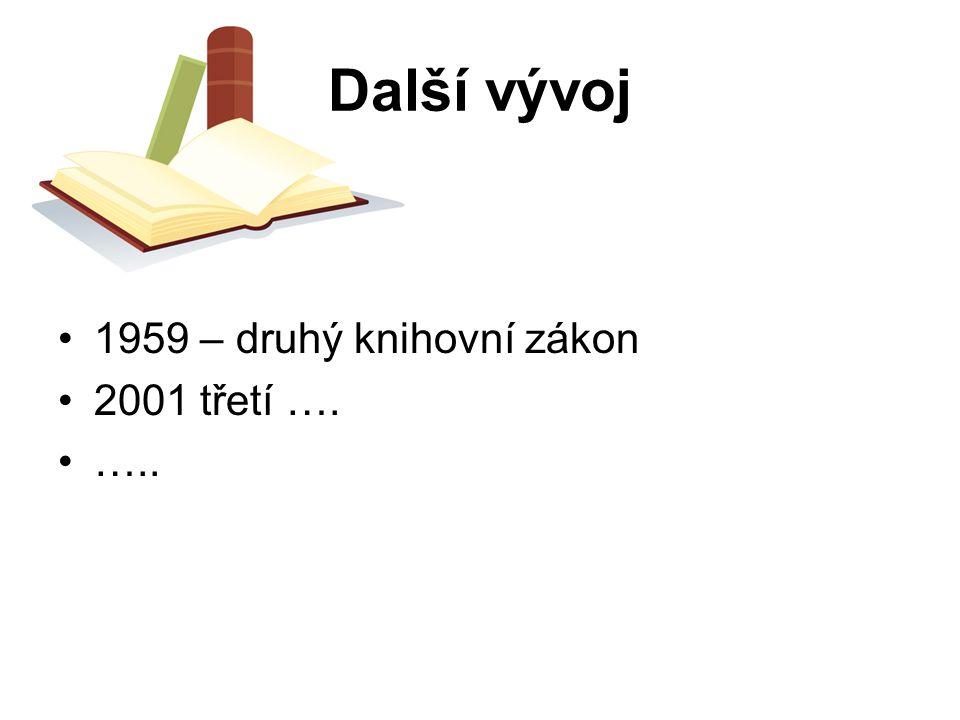 Další vývoj 1959 – druhý knihovní zákon 2001 třetí …. …..