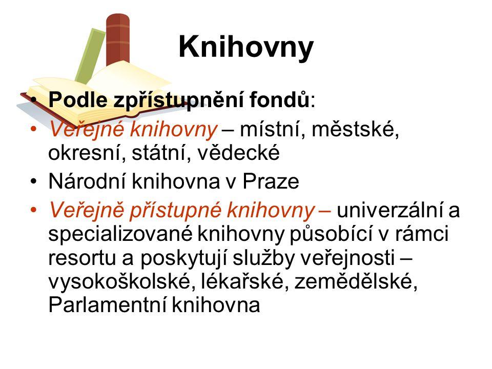 Knihovny Podle zpřístupnění fondů: