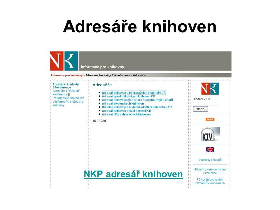 Adresáře knihoven NKP adresář knihoven