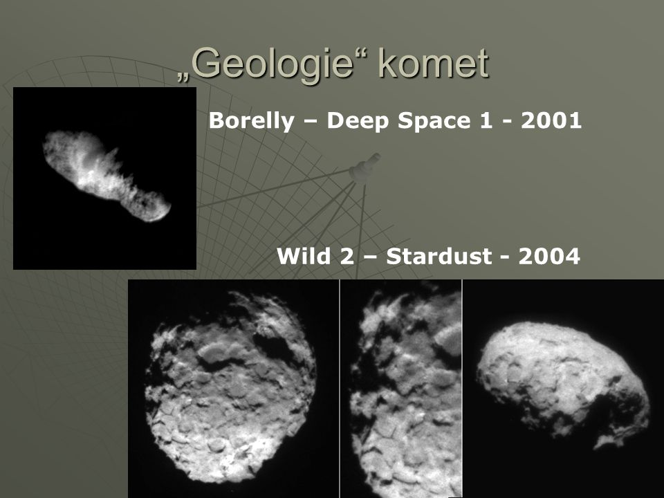 """Geologie komet Borelly – Deep Space 1 - 2001"