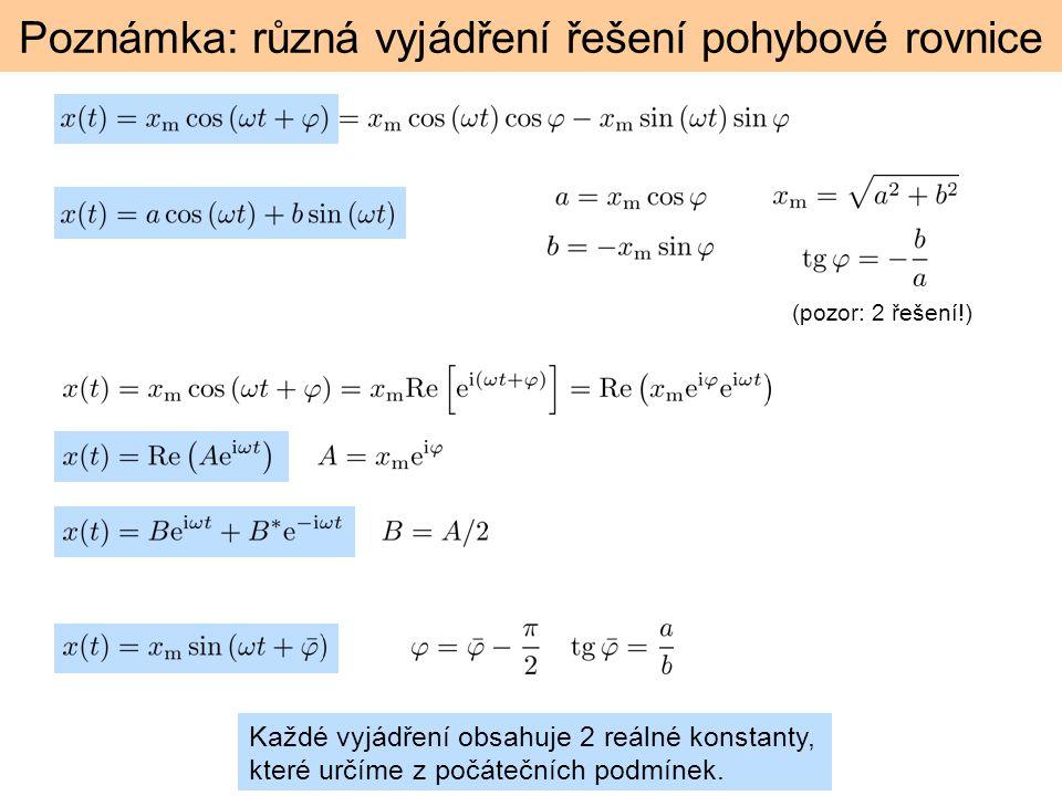 Poznámka: různá vyjádření řešení pohybové rovnice