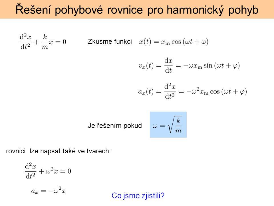 Řešení pohybové rovnice pro harmonický pohyb