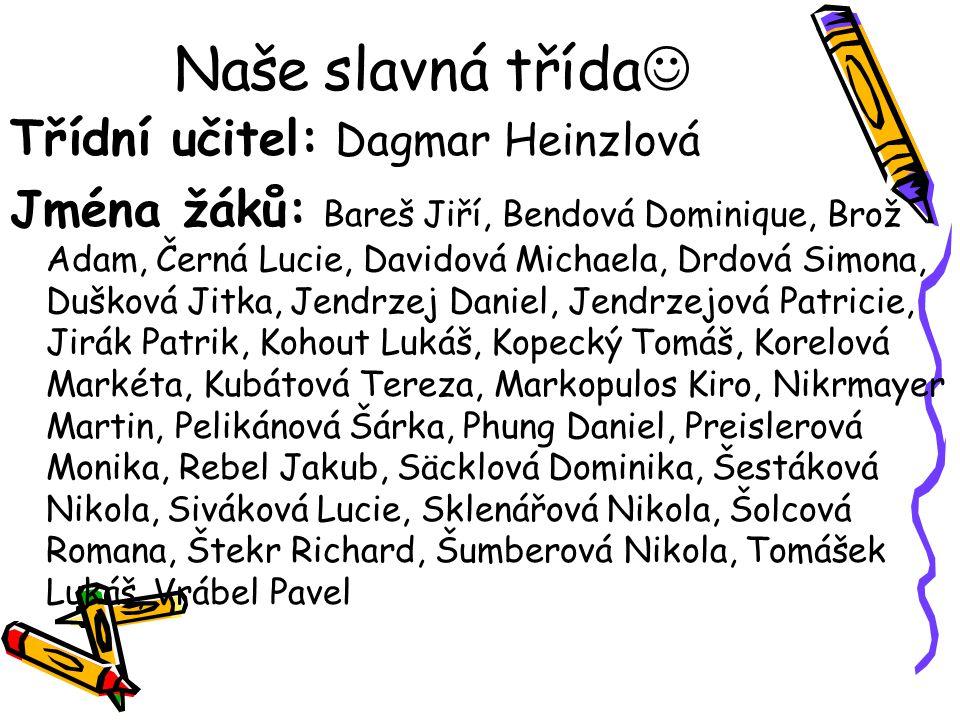 Naše slavná třída Třídní učitel: Dagmar Heinzlová
