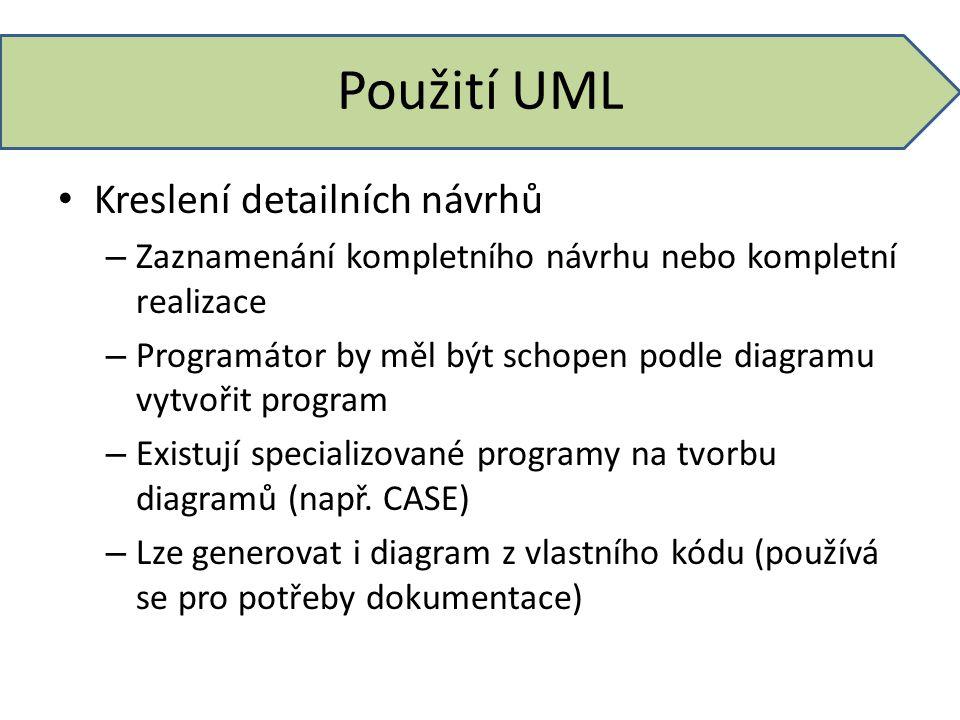Použití UML Kreslení detailních návrhů