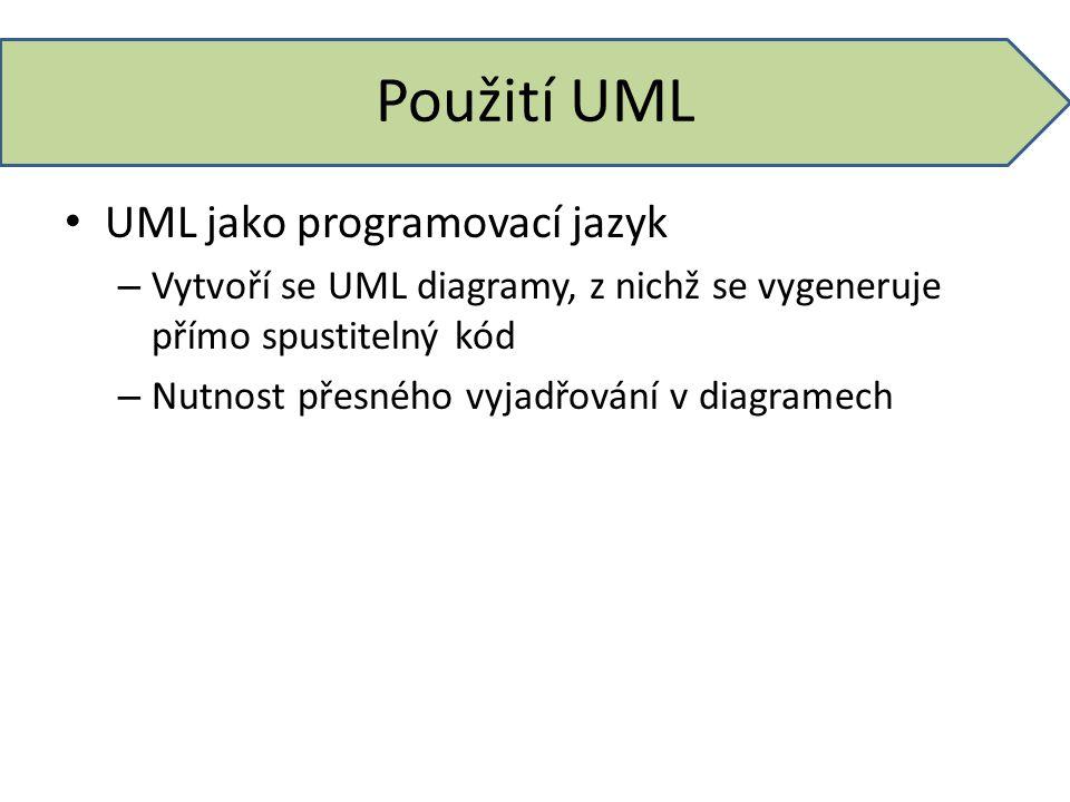 Použití UML UML jako programovací jazyk