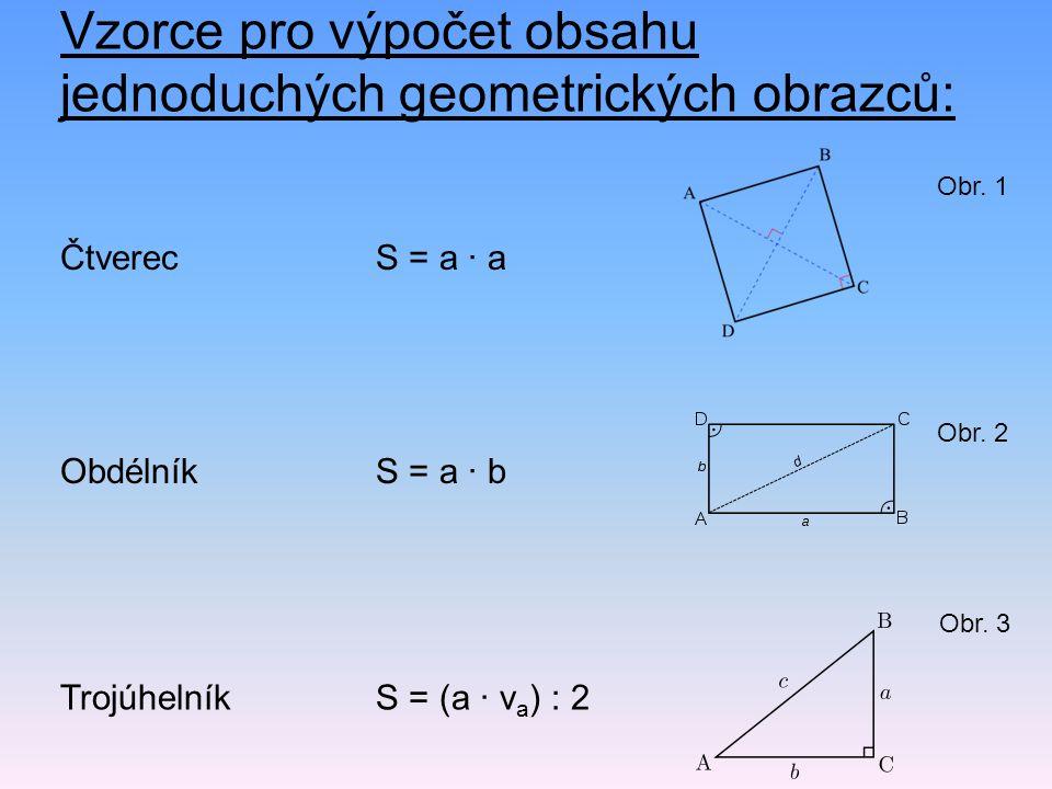 Vzorce pro výpočet obsahu jednoduchých geometrických obrazců: