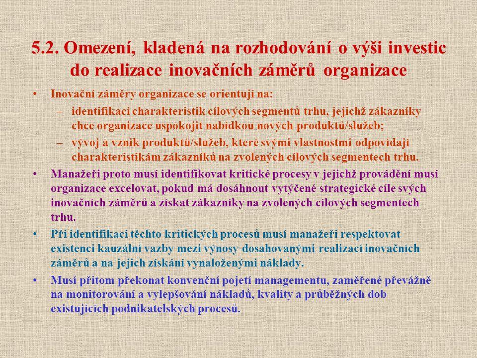 5.2. Omezení, kladená na rozhodování o výši investic do realizace inovačních záměrů organizace