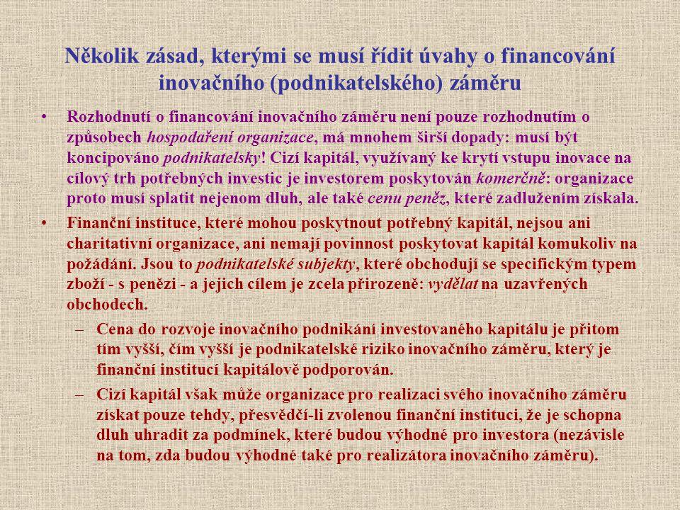 Několik zásad, kterými se musí řídit úvahy o financování inovačního (podnikatelského) záměru