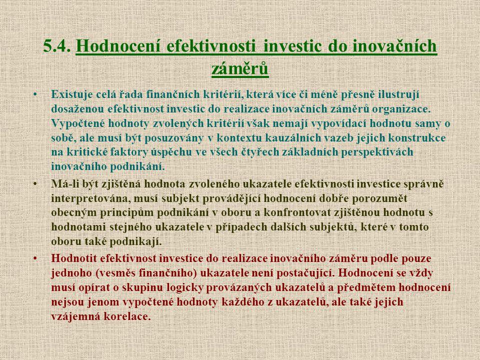 5.4. Hodnocení efektivnosti investic do inovačních záměrů