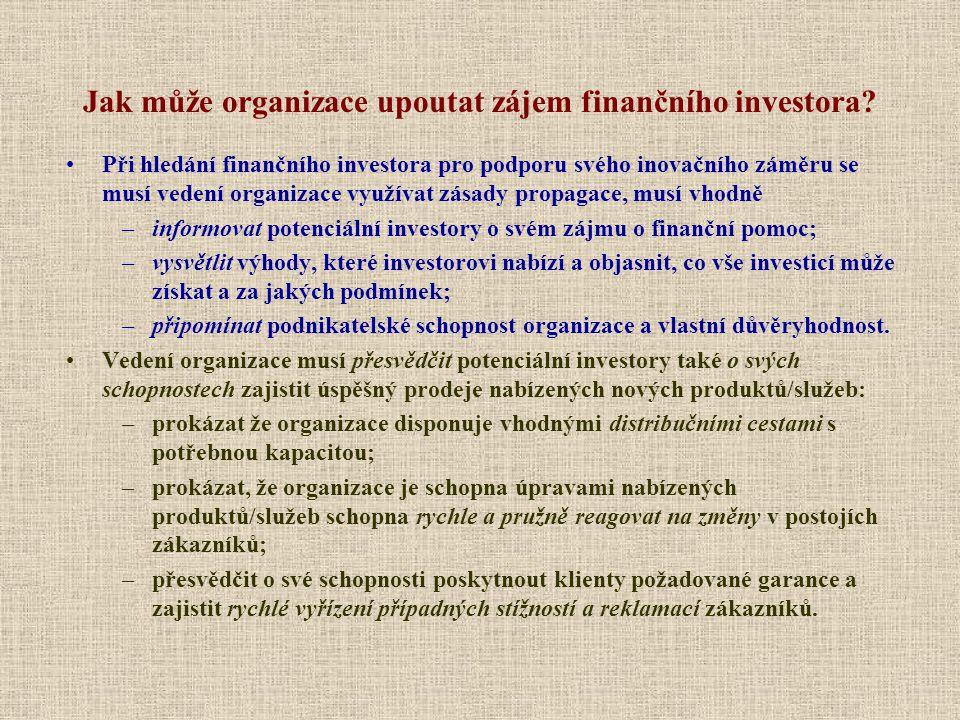 Jak může organizace upoutat zájem finančního investora