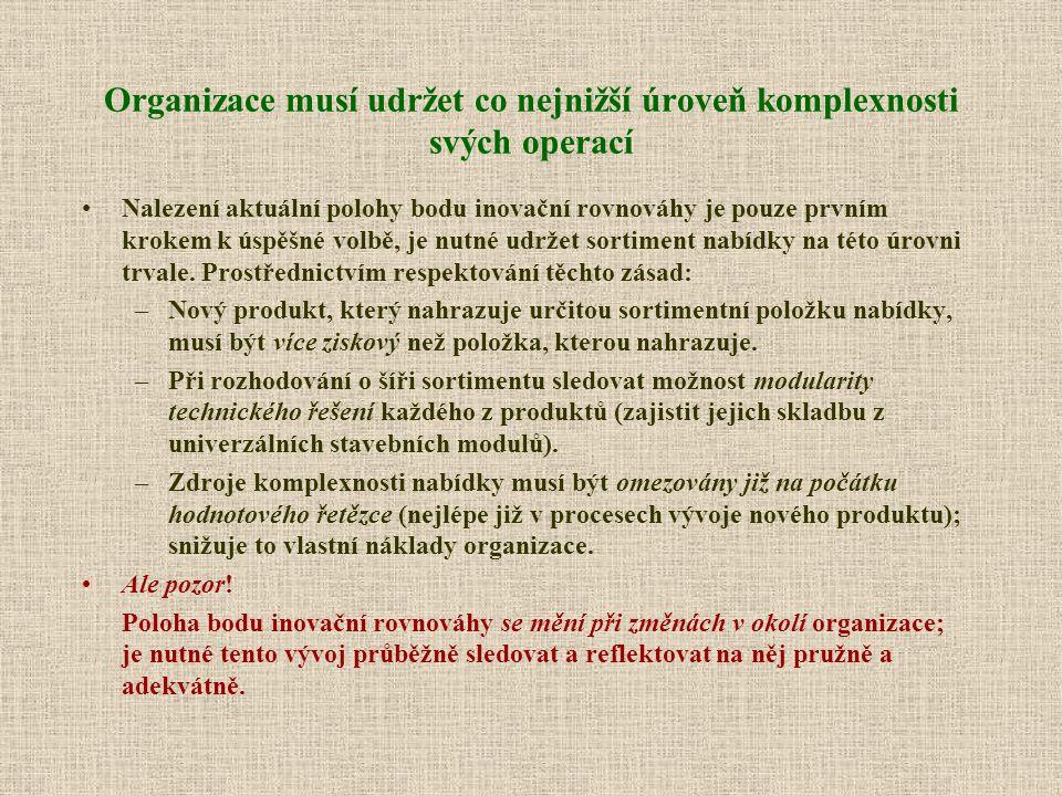 Organizace musí udržet co nejnižší úroveň komplexnosti svých operací