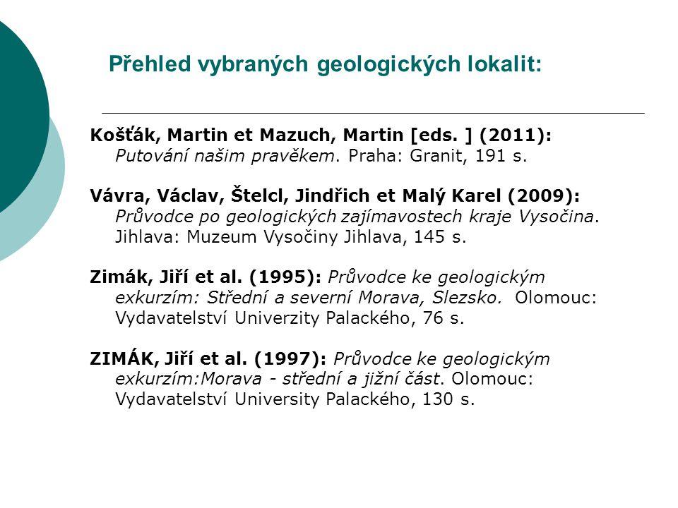 Přehled vybraných geologických lokalit: