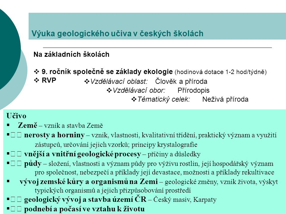 Výuka geologického učiva v českých školách