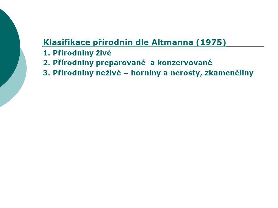 Klasifikace přírodnin dle Altmanna (1975)