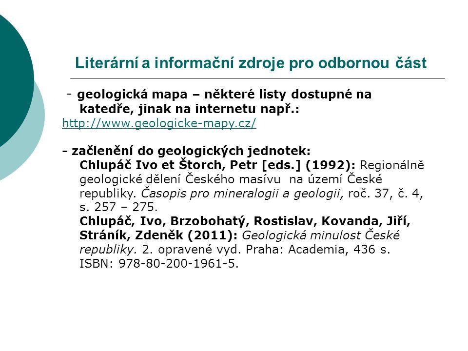 Literární a informační zdroje pro odbornou část