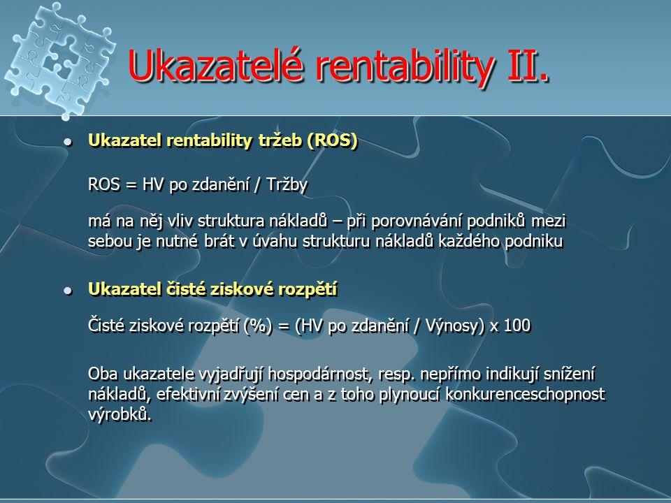 Ukazatelé rentability II.
