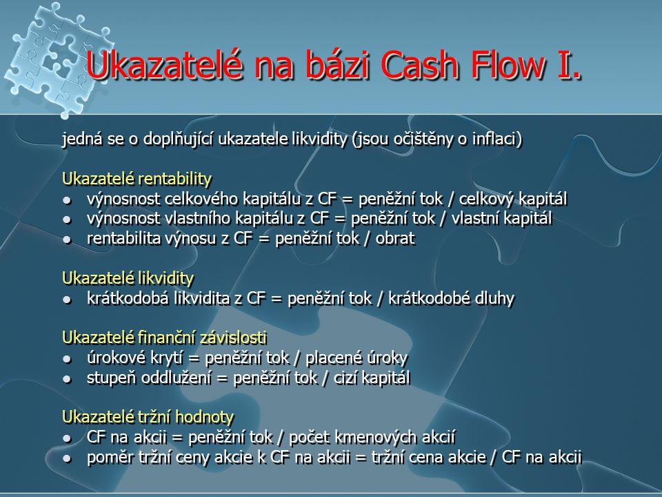Ukazatelé na bázi Cash Flow I.
