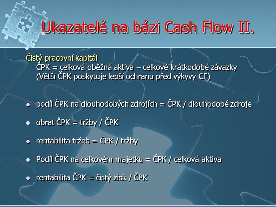 Ukazatelé na bázi Cash Flow II.