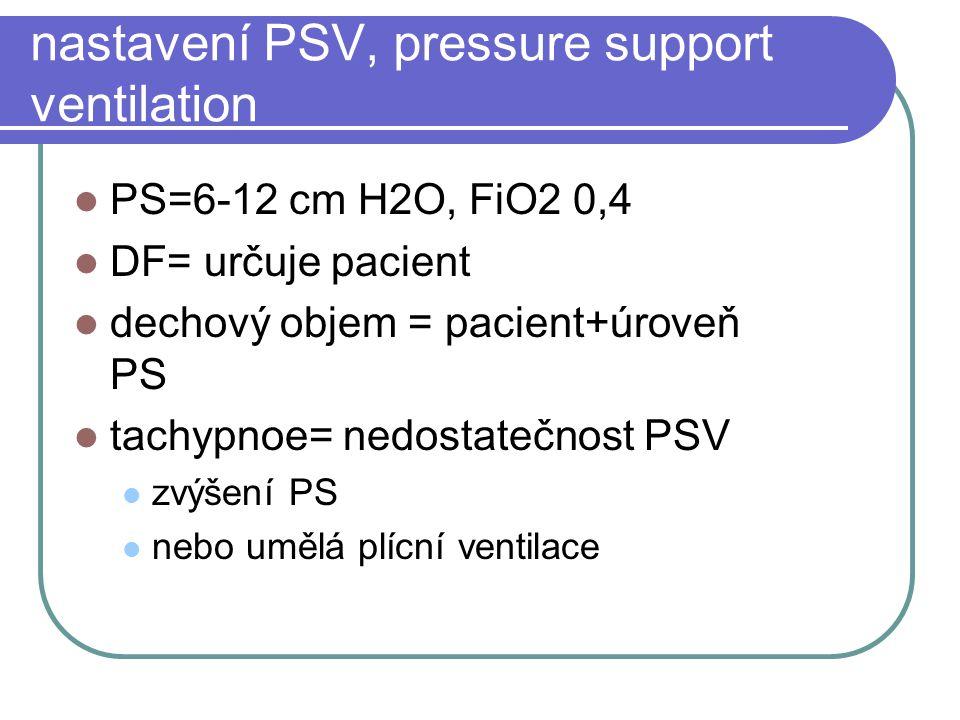 nastavení PSV, pressure support ventilation