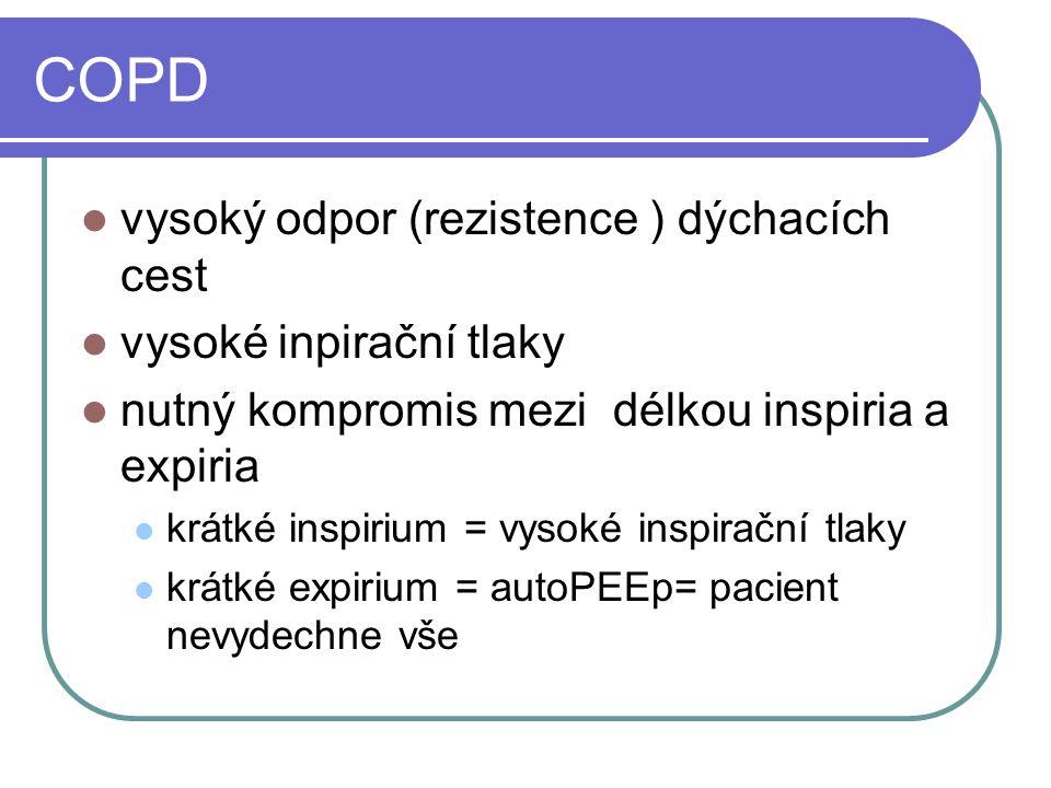 COPD vysoký odpor (rezistence ) dýchacích cest vysoké inpirační tlaky