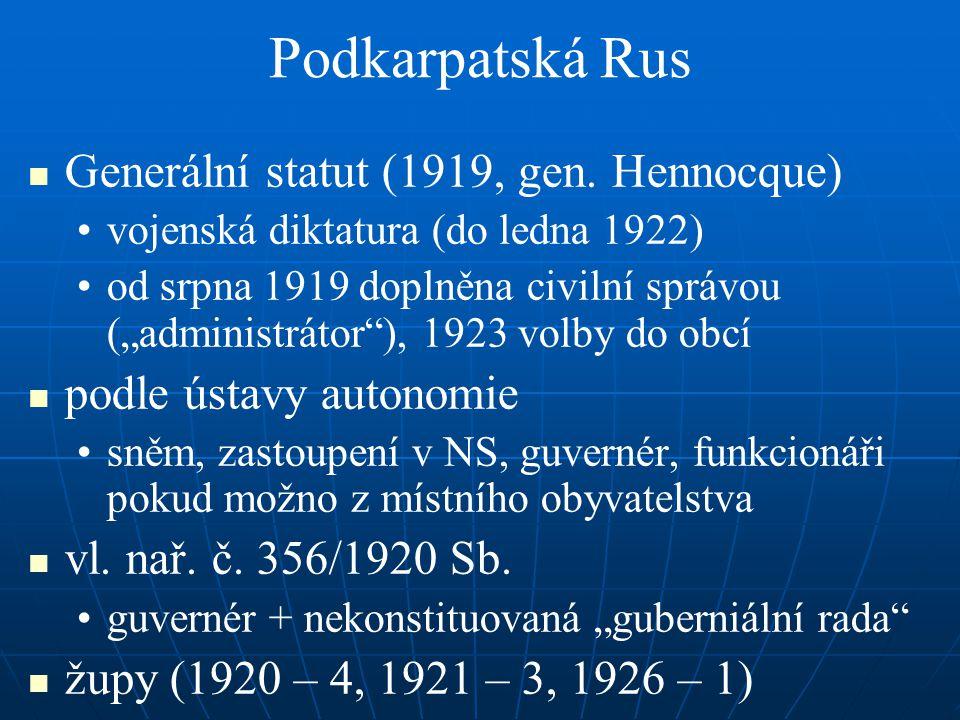 Podkarpatská Rus Generální statut (1919, gen. Hennocque)