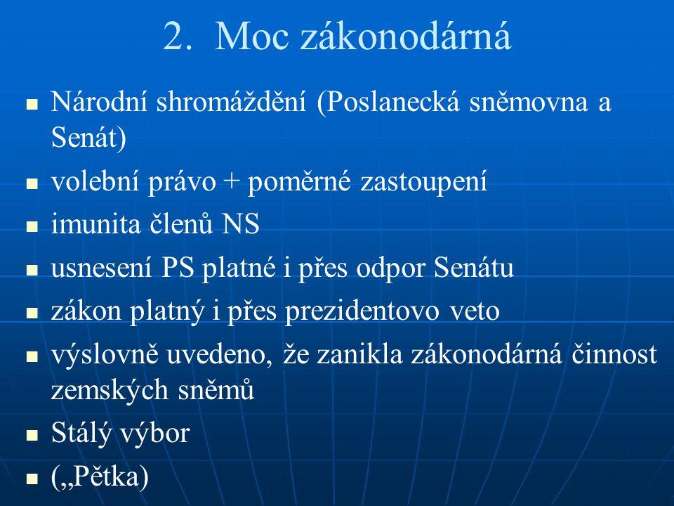 2. Moc zákonodárná Národní shromáždění (Poslanecká sněmovna a Senát)