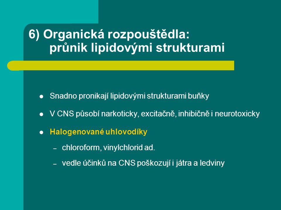 6) Organická rozpouštědla: průnik lipidovými strukturami