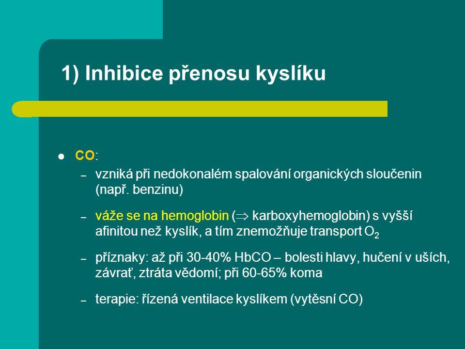 1) Inhibice přenosu kyslíku