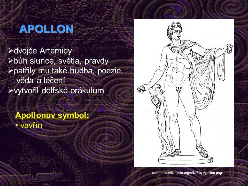 APOLLON dvojče Artemidy bůh slunce, světla, pravdy