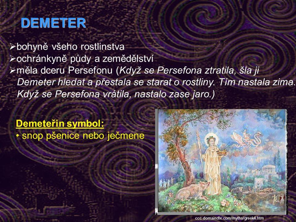 DEMETER bohyně všeho rostlinstva ochránkyně půdy a zemědělství