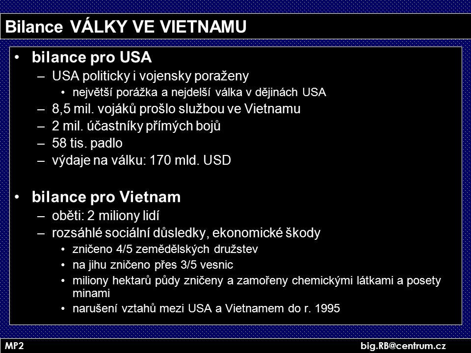 Bilance VÁLKY VE VIETNAMU