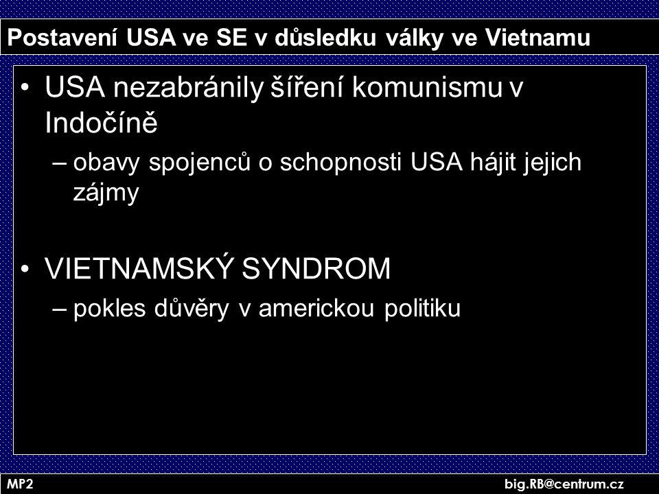 Postavení USA ve SE v důsledku války ve Vietnamu