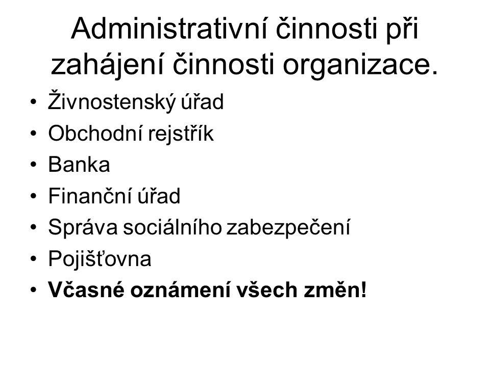 Administrativní činnosti při zahájení činnosti organizace.