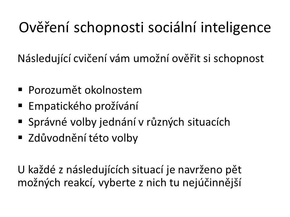 Ověření schopnosti sociální inteligence