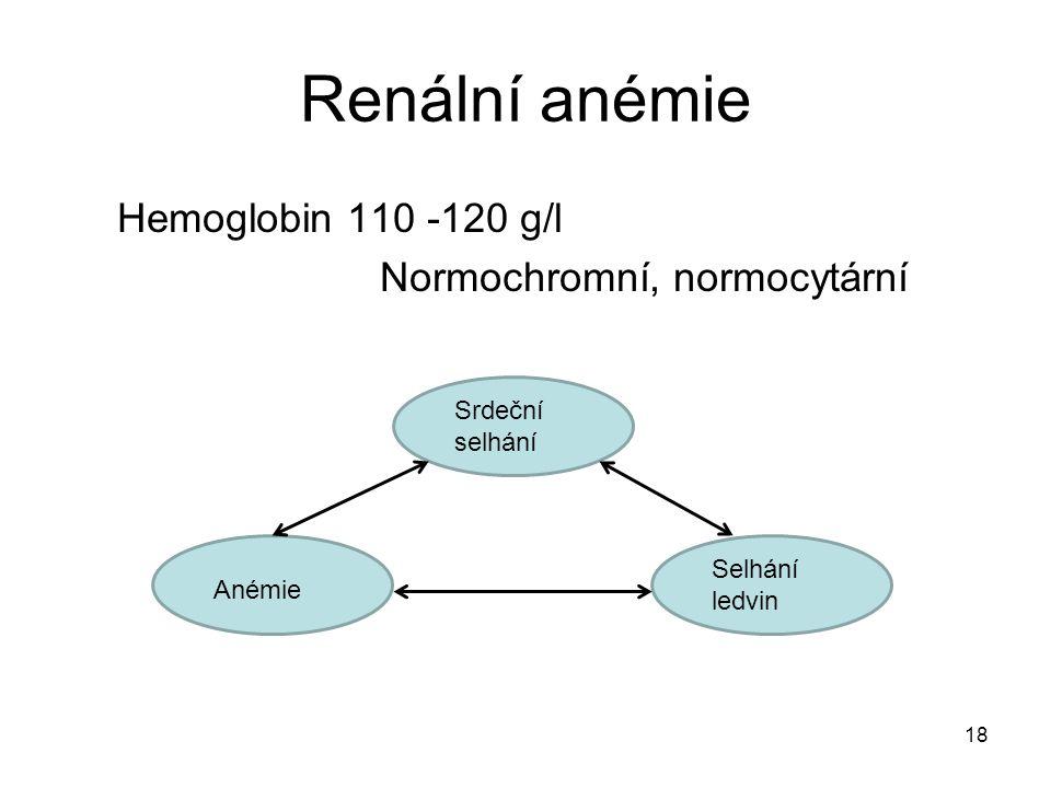 Renální anémie Hemoglobin 110 -120 g/l Normochromní, normocytární