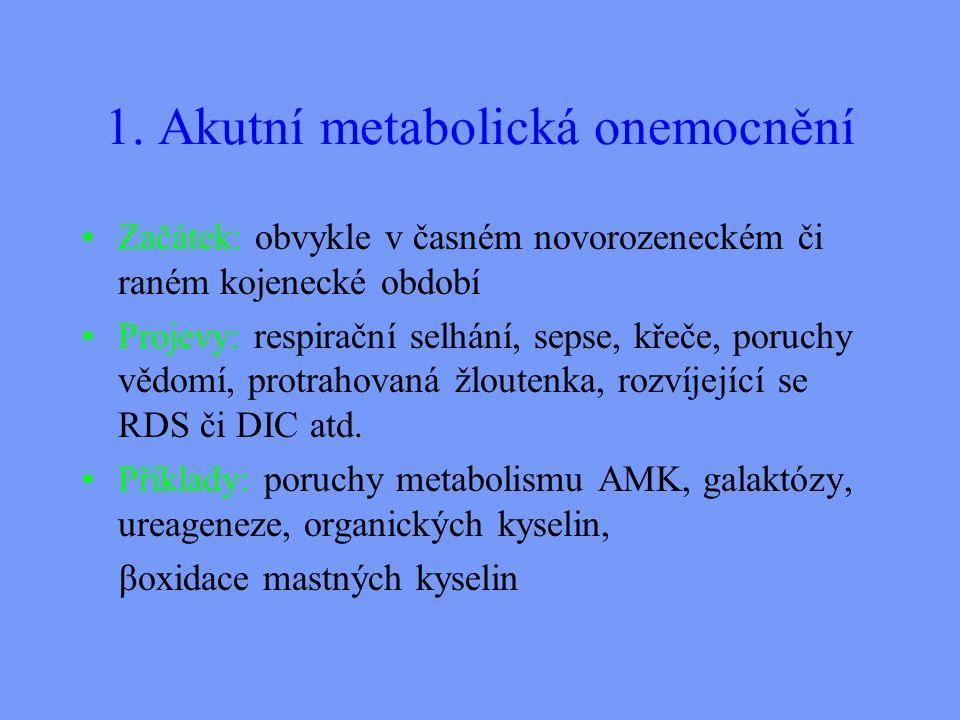 1. Akutní metabolická onemocnění