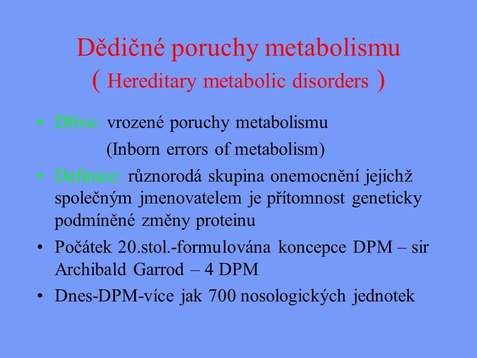 Dědičné poruchy metabolismu ( Hereditary metabolic disorders )