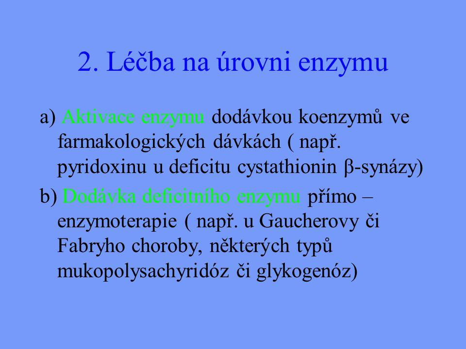 2. Léčba na úrovni enzymu a) Aktivace enzymu dodávkou koenzymů ve farmakologických dávkách ( např. pyridoxinu u deficitu cystathionin β-synázy)